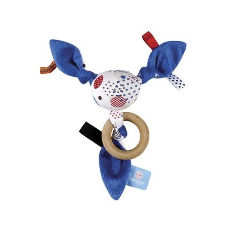 Hochet bleu-rouge-blanc avec anneau en bois