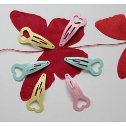 Barrettes pour cheveux- set de 6  'Pastel Hearts'