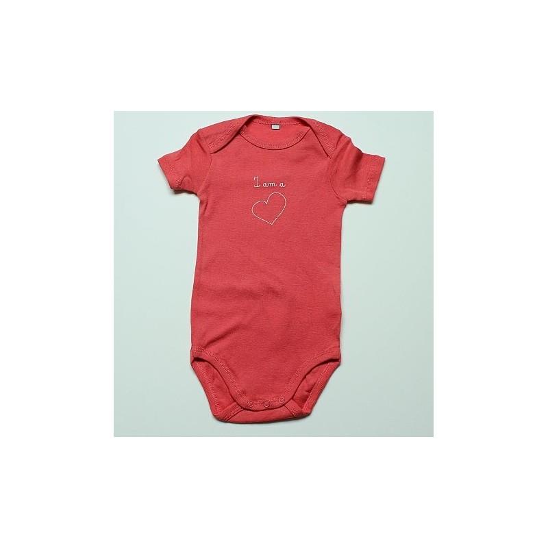 Body rose à motif coeur 12 mois