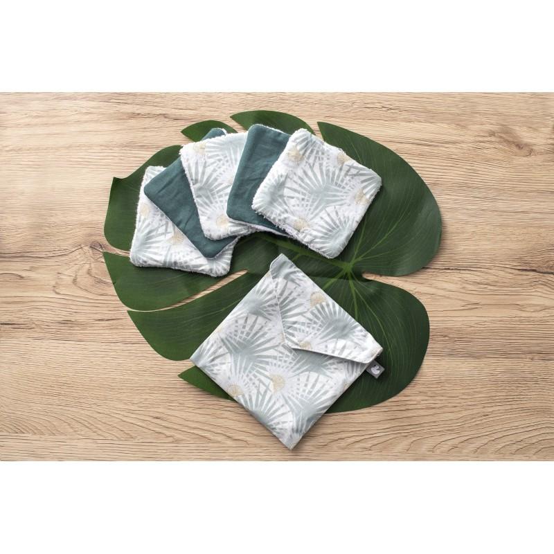 """5 Lingettes lavables """"Palmiers verts"""""""