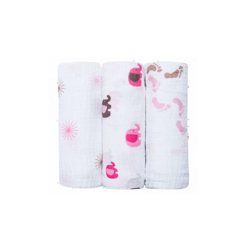 3 Langes en coton pur 120 cm x 120 cm