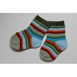 Chaussettes rayées vert-bleu-rouge    0-6 mois
