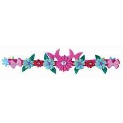 Bandeau pour cheveux 'Fleurs et Papillons'