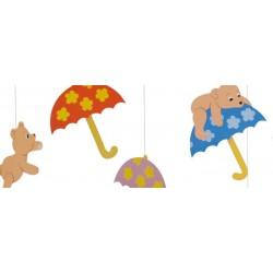 """Mobile """"4 ours amusants avec parapluies"""""""