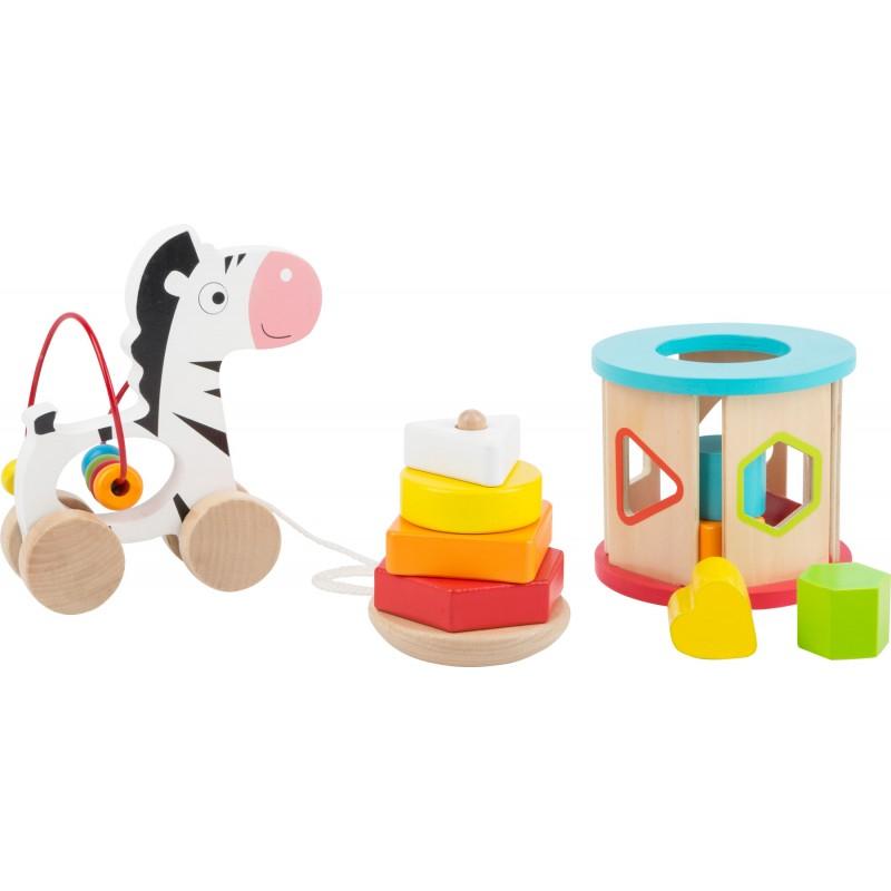 3 jouets de motricité en bois