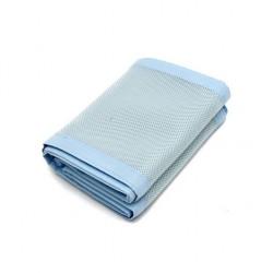 Tour de lit aéré et respirant-2 cotés en bleu ciel