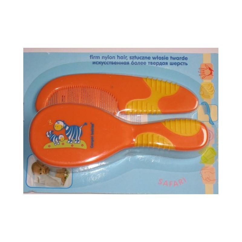 Brosse à cheveux et peigne orange pour bébé