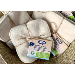 5 lingettes bi-faces Coton bio/flanelle coton