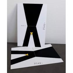 """Carte type postale à découper """"Pingouin"""""""