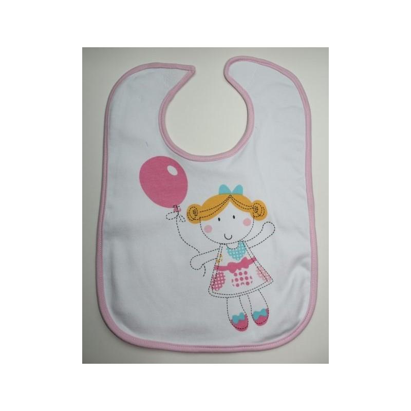 Bavoir blanc et rose motif fille,ballon rose