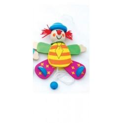Petit clown articulé en bois chapeau bleu