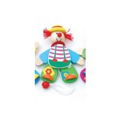 Petit clown articulé en bois chapeau jaune