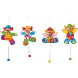 Petit clown articulé en bois chapeau rouge