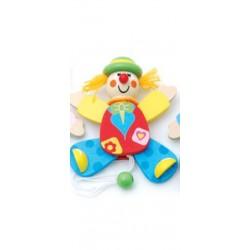 Petit clown articulé en bois chapeau vert