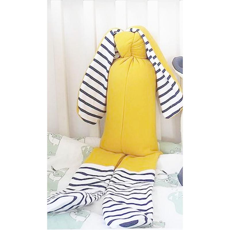 Peluche Gros Lapin jaune avec des rayures Rosso Jaune