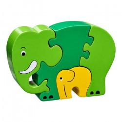 Puzzle en bois Eléphants-vert