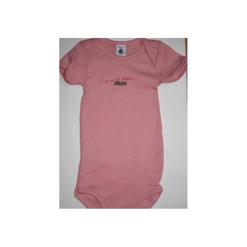 Body rose bébé en coton 12 mois