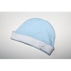 Bonnet bleu revers blanc  0-6 mois
