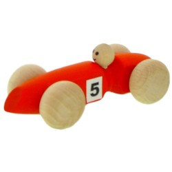 Voiture '3' en bois  orange