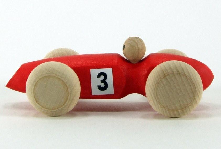 Voiture '3' en bois  rouge