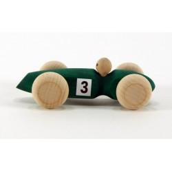 Voiture '3' en bois  vert