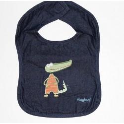 Bavoir coton (jeans) motif 'croco'